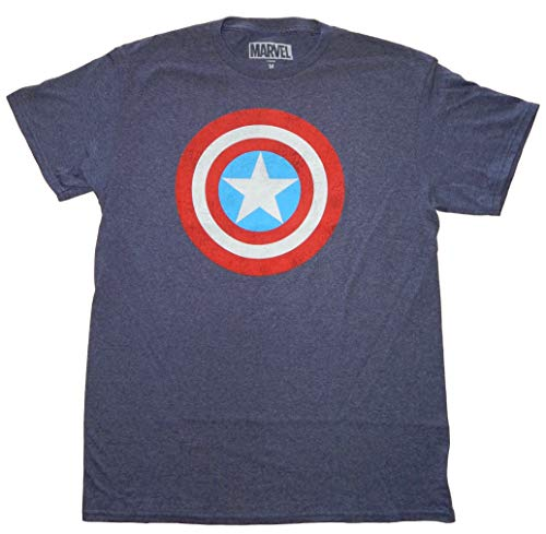 Marvel Captain America Shield Logo Men's Navy Heather T-shirt ()