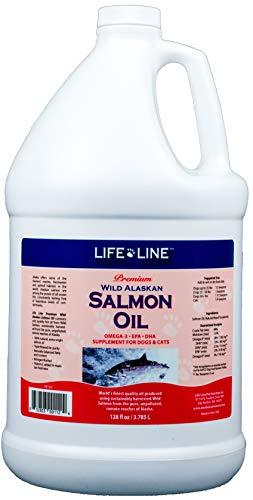 Life Line Pet Nutrition Wild Alaskan Salmon Oil Omega-3 Supplement for Skin & Coat - Supports Brain, Eye & Heart Health in Dogs & Cats