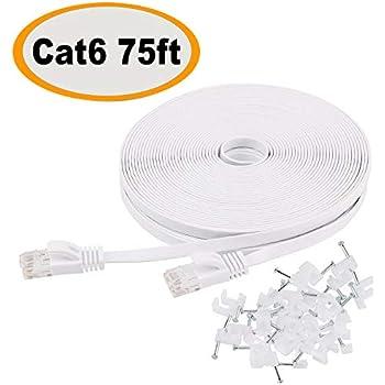 Excellent Amazon Com Cat 6 Ethernet Cable 100 Ft Flat White Slim Long Wiring Database Ilarigelartorg
