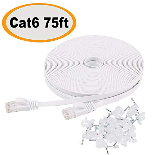- Cat 6 Ethernet Cable 75 ft Flat with Clips, Durable Long Internet Network LAN Patch Cords, Solid Cat6 High Speed Computer wire with RJ45 Connectors for Router, Modem, PS, Faster Than CAT5E/Cat5, White