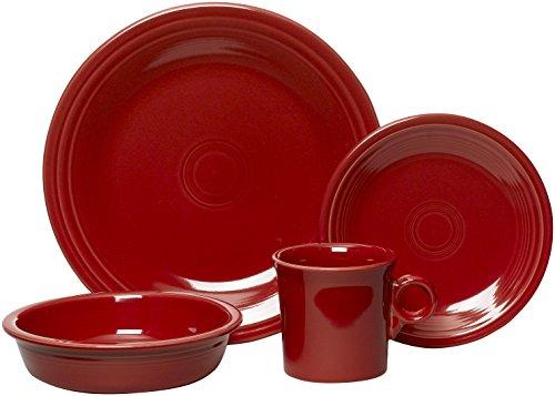 Fiesta 16-Piece, Service for 4 Dinnerware Set, Scarlet (Dinnerware Reviews Fiesta)