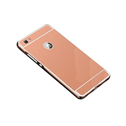 Huawei Ascend P8 Lite Funda de movil - TOOGOO(R)Aluminio Metal Tope Cubierta PC Funda trasera para HUAWEI Ascend P8 Lite Oro rosa