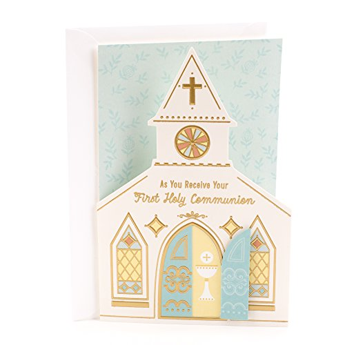 Dayspring Religious First Communion Greeting Card (My First Communion, Church) (Communion Invitations For Twins Boy And Girl)
