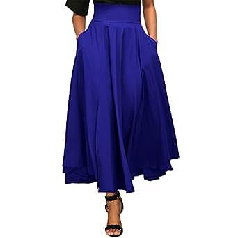 Jessica CC Women s High Waist Pleated A-line Long Skirt Front Slit Belted Maxi Skirt S-XXL, Blue, Small