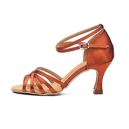 Jingsen Zapatillas de Baile Latino Mujer Adulto con Salón de Baile Baile de Salón Zapatos de Baile Rumba Chaise (Color : Marron Oscuro, Tamaño : 42) Marron Oscuro