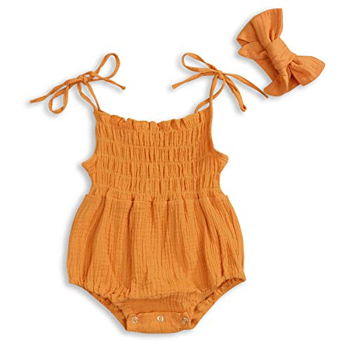 - KCSLLCA Baby Girls Sleeveless Romper Set Solid Color Sling Backless Jumpsuit Outfits with Headband (Orange Brown, 0-3 Months)