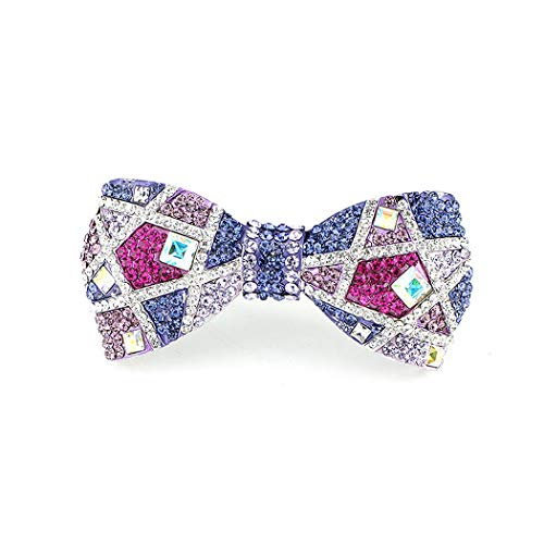 Glamorousky Elegant Ribbon Hair Clamp with Silver Pink and Purple Austrian Element Crystals (3586)