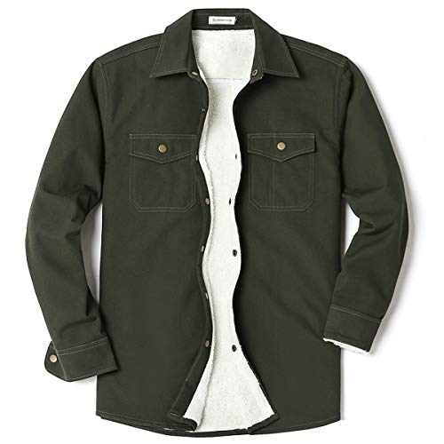 Men's Canvas Long Sleeve Fleece-Lined Two Pocket Shirt Jacket Army Green X-Large