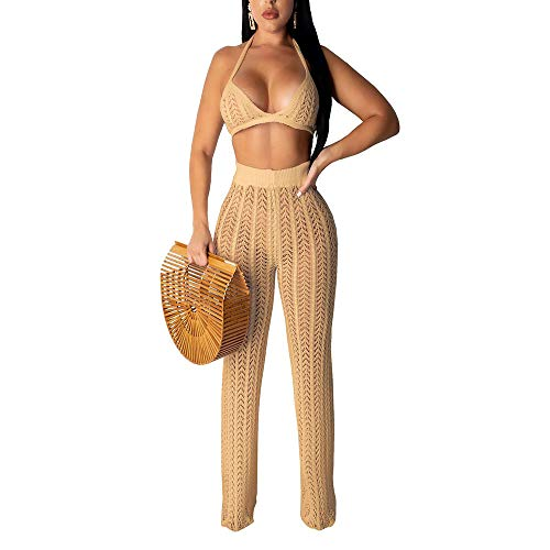 (Women's Sexy Hollow Out Mesh Beach Bikinis and Split Crochet High Waist Pants Two Piece Outfits Camel)