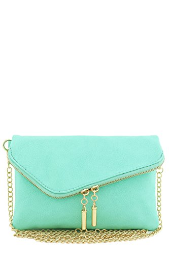 Envelope Wristlet Clutch Crossbody Bag with Chain Strap (Light Mint)