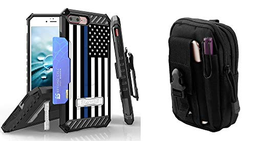 Beyond Cell Tri Shield Series Compatible with iPhone 8 Plus, iPhone 7 Plus Bundle with Military Grade Clip Holster Case (Thin Blue Line) with Travel Pouch and Atom Cloth from Bemz Depot