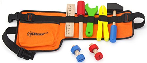 Top Race 10 Piece Tool Belt, Thick Fabric Tool Belt with Solid Wooden Tools, Construction Role Play Set -
