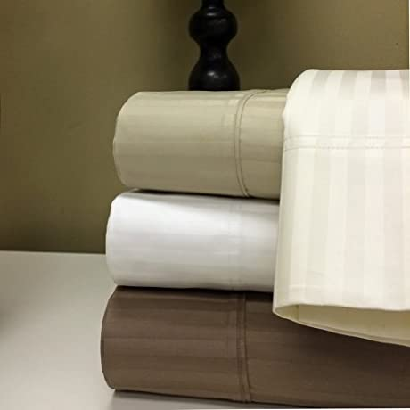 1500 Thread Count 100 Percent Egyptian Cotton Damask Stripe Sheet Sets Calking White