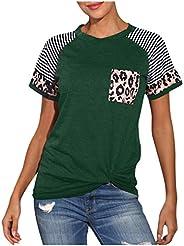 CGKUITER Blusa holgada con bolsillo para mujer, cuello redondo, color de leopardo, parte superior corta, casua