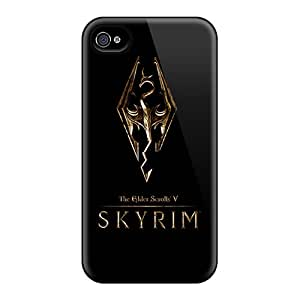 New Customized Design Skyrim Gold Logo For Iphone 4/4s Cases Comfortable For Lovers And Friends For Christmas Gifts