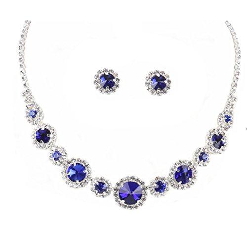 Crystal Avenue Clear Round & Deep Blue Rivoli Rhinestone Bib Statement Necklace Silver-Tone 15