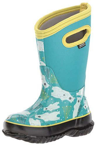 Boots Bears Rain (Bogs Kids' Classic High Waterproof Insulated Rubber Neoprene Rain Snow Boot, Bears Print/Aqua/Multi, 10 M US Toddler)