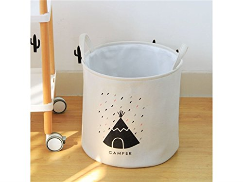 Gelaiken Lightweight Tent Pattern Storage Bag Cotton Bucket Sundries Storage Bucket(White) by Gelaiken