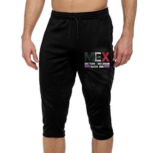 MKLOP-POP Mexico Soccer Team Russian 2018 Men's Yoga Pants (Black Russian Pants)