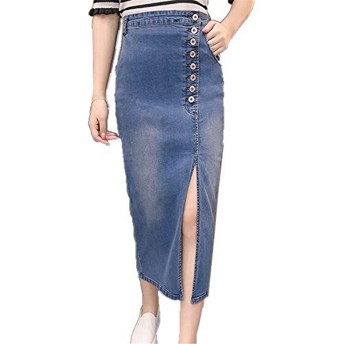 Silhouette Cotton Blouse - JIANGTAOLANG Women Sexy High Waist Breasted Denim Split Long Skirts Stretch A-Line Cotton Skirts Light Blue S