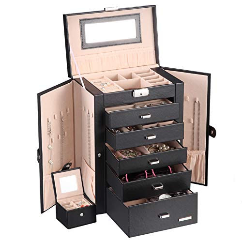(Homde 2 in 1 Huge Jewelry Box/Organizer/Case Faux Leather with Small Travel Case, Gift for Girls or Women (Black))