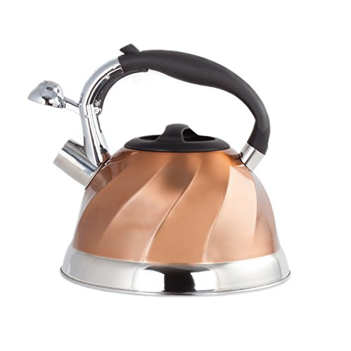 Copper Classic Kettle - Imperial Home Whistling Tea Kettle Stainless Steel Copper Tea Kettle. 3 Qt Encapsulated Bottom Stylish Modern Design Classic Tea Kettle