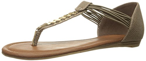 Rampage Women's Decarte Flat Sandal, Taupe Snake, 6 M US - Rampage T-strap Sandals