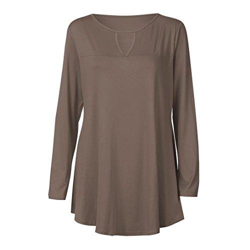 Chic Automne Femme Casual T Manches V Shirt Longues Dcontract Lady vider O Chemises Tops Loisirs Cou Occasionnels Col Vest Blouse Kaki Lache Solide Chemisier fIdqdr