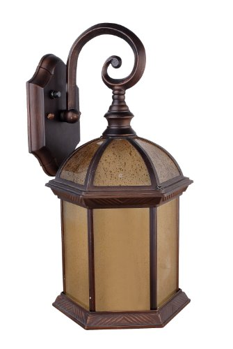 Whitfield ESOWL84-ATORB Anthony 6.5-Inch Energy Star One-Light Outdoor Light, Oil Rubbed Bronze with Autumn Teak Glass
