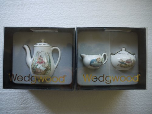 Vintage Wedgwood Miniature Bone China Peter Rabbit Coffeepot & Lid, Sugar Bowl & Lid and Creamer -