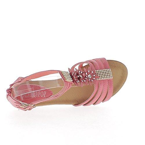Sandales compensées fushias petit talon de 5cm et strass fines brides