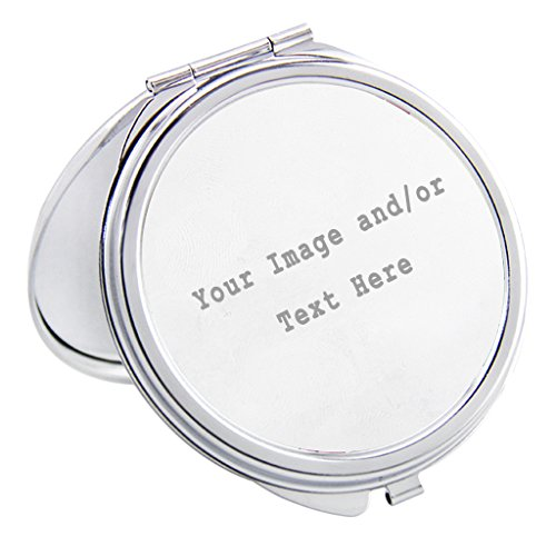 Personalized Silver Compact Mirror Customizable Mini Travel Makeup Mirror with Your Own Customized Photo and/or Text, Custom Wedding Bridsmaid Gift Christmas Gift for Girls Women, Round Shape - Custom Compact Mirrors