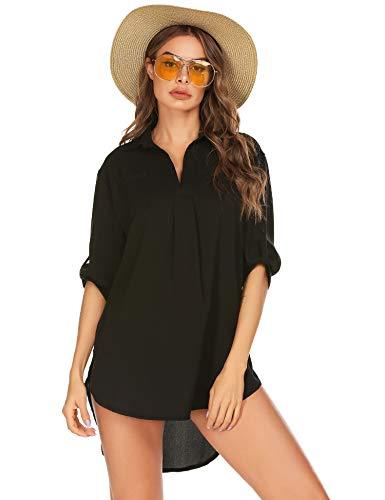 LOMON Swimsuit Cover Up Henley Shirts Beachwear for Women Black