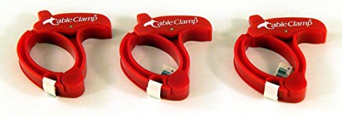 Cable Clamp, MEDIUM Cable / Power Tool / Computer Cable Clamp, Red Color (Set/ Pack of 3) by Qa Worldwide