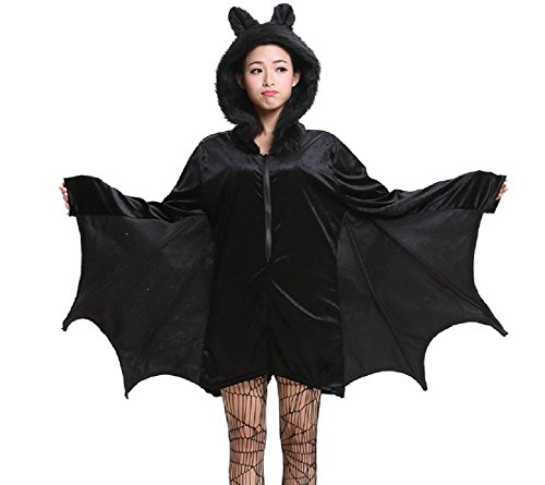 Sorrica Women's Vampire Bat Romper with Hood Halloween Party Cosplay Costume (US 8-10(Label XL), (U Of C Halloween Party)