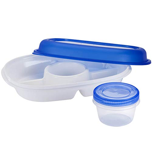 4 Section Covered Chip & Dip with 1 Qt Container