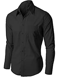 Style M Men's Stylish Comfortable Solid Color Long Sleeve Dress Shirts