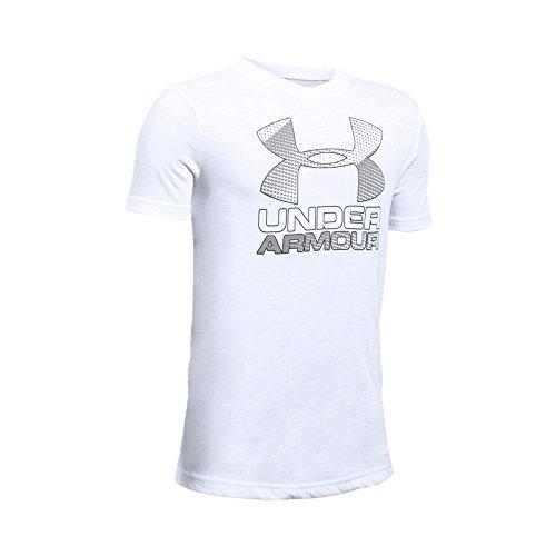 Under Armour Boys' Hybrid Big Logo T-Shirt, White/Graphite, Youth Large