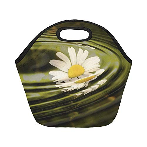 Insulated Neoprene Lunch Bag Daisy Wave Water Rings Circle Waves Circles Large Size Reusable Thermal Thick Lunch Tote Bags For Lunch Boxes For Outdoors,work, Office, - Daisy Ring Stretch