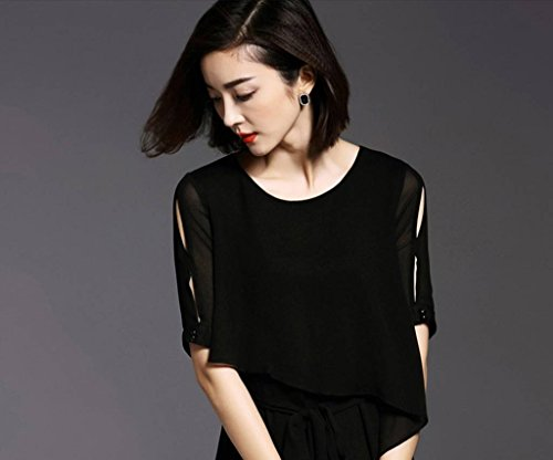 Bodycon Womens Two Long Pieces Dress Summer Fake Xiang Ru Black Casual BXqgB05