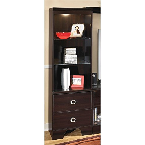 Ashley Furniture Signature Design - Pinella Pier Cabinet - 2 Drawers and 3 Shelves - Contemporary - Merlot
