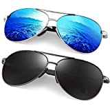 Polarized Aviator Sunglasses for Men - Feirdio Metal Frame Sports UV 400 Protection Mens Women Sunglasses 2261 (black gun +blue sliver, 2.36)