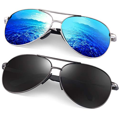 Polarized Aviator Sunglasses for Men - Feirdio Metal Frame Sports UV 400 Protection Mens Women Sunglasses 2261 (black gun +blue sliver, 2.36)