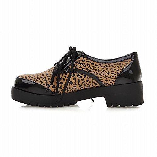 Carol Skor Kvinnor Snör Åt Upp Blandade Färger Trösta Tillfälliga Mitten Chunky Häl Oxfords Skor Leopardmönster