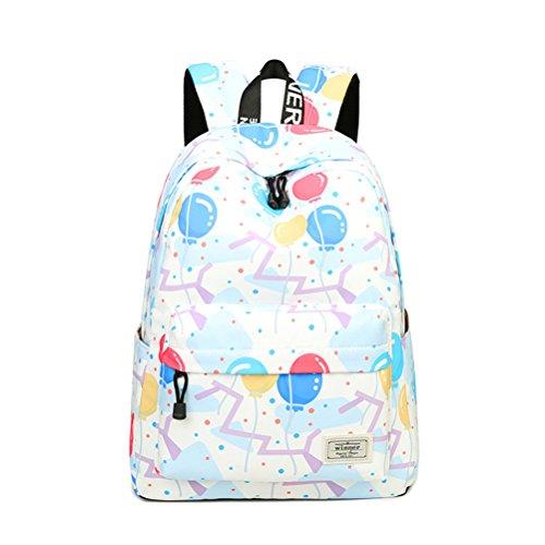 Sacs Hot 14 pour pouces dos sac Sale mignon Ballon blanc Impression femelle multicolore à dos adolescentes femmes Winnerbag motif White à Sac d'école Simple 51RZqZ