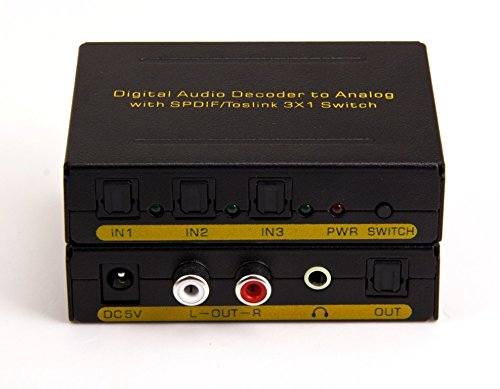 3x1 Digital Optical Audio Selector Switch with Analog Stereo RCA output & Dolby Decoder