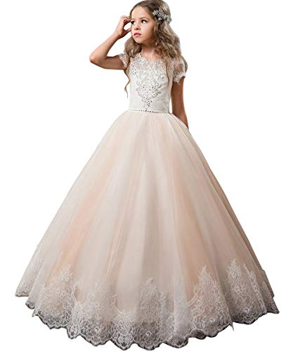 Flower Girl Dress Kids Lace Beaded Pageant Ball Gowns Blush Pink Size 6 -