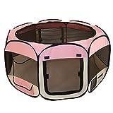 Large Pink Grid Pet Tent Exercise Pen Playpen