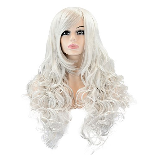[EDENKISS Women's Fashion Colorful Harajuku Lolita Style Long&Short Hair Replacement Curly&Straight Full Head Wigs With Simulation Scalp Cosplay Costume Party Hairpiece (LC115 / Silver] (Perm Wigs)