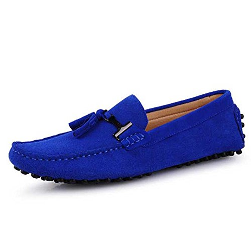Seude Leather Mens Comfort Tasselled Loafers Slip on Car Shoes Mens Driving Shoes Bright Blue Ca6yW